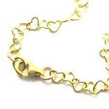 Gold plated Sterling Silver Necklace,Anklet,Bracelet Chain Heart Link Necklace