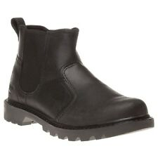 New Mens Caterpillar Black Thornberry Leather Boots Chelsea Pull On