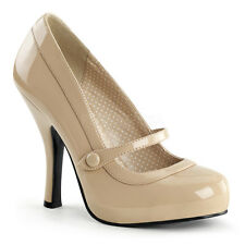 """Pin Up Couture Retro Cream 4.5"""" Heel Mary Jane Shoes Rockabilly 5 6 7 8 9 10 11"""