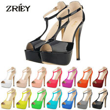 ZriEy Womens High Heels Peep Toe Platform Stiletto Strappy Patent Leather Shoes