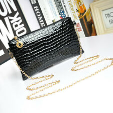 Women Leather Shoulder Bags Messenger Alloy Chain Crossbody Bags Clutch Handbag