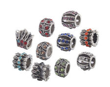 10PCS Mixed Colors Rhinestone Charm Beads Fit European Bracelet #91859