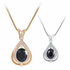 Vogue Oval black Sapphire 18k gold/white gold filled woman pendant necklace18""