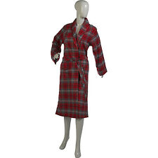 Ladies Bath Robe Lightweight Red Tartan Womens Combed Cotton Check Dressing Gown