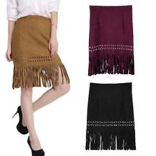 Women Fringed Middle Skirt Faux Suede Hollow Out Bodycon Zipper Skirt Dress 9Z3W
