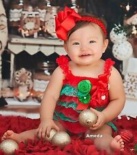 Baby Xmas Satin Rosettes Red Green Lace Petti Rompers Bow Headband 2pcs Set