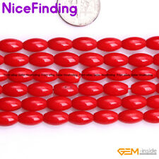 """Olivary Red Coral Rice Loose Stone Beads For Jewelry Making Gemstone Strand 15"""""""