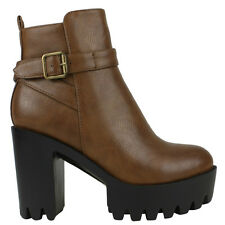 Peggy-05 Camel Lug Sole Thick Heel Belted Ankle Boots Pump Women's shoes
