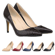 Ladies Stiletto High Heels Pumps Court New Crocodile Leather Working Party Shoes