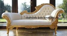 Chaise Longue Ornate Gold Leaf Ivory fabric Lounge Sofa French Style Free Delive