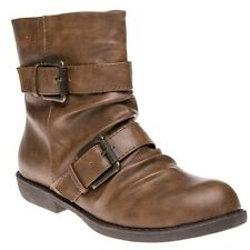 New Womens Blowfish Brown Anuku Synthetic Boots Ankle Buckle Zip