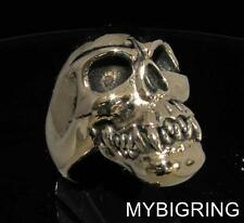 HUGE BRONZE MEN'S BIKER FANG SKULL RING ZOMBIE HORROR OUTLAW ANTIQUED ANY SIZE