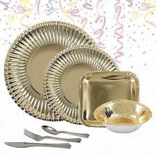 Gold Paper Plates & Bowls Cutlery Party Tableware Birthday/Buffet/Event Catering