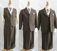 Brown/Taupe 5 pc set toddler teen boy formal suit ring bearer wedding prom party
