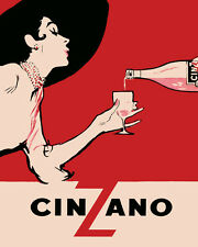 Fashion Lady Girl Drinking Cinzano Italy Italia 16X20 Vintage Poster FREE S/H