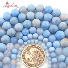 "4.6.8.10.12.14mm Round Skyblue Agate Gemstone Spacer Beads Strand 15"" Pick Size"