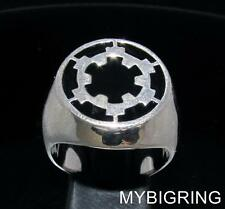 STERLING SILVER MENS SIGNET RING IMPERIAL COAT OF ARMS STAR WARS BLACK ANY SIZE