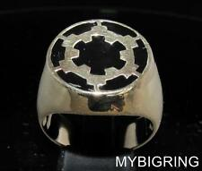 BRONZE MEN'S SIGNET RING IMPERIAL COAT OF ARMS STAR WARS BLACK ENAMEL ANY SIZE