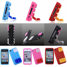 5pcs Wholesale Brick Block Silicone Skin Soft Back Case Cover for iPhone 4/4S