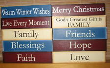 Wood Sign Country Decor Freestanding Block Natural Red Blue Buy 2 get 1 free