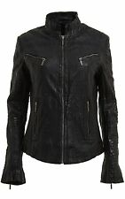 Ladies Real Leather Black Croc Fitted Bikers Vintage Style Jacket
