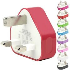 CE COLOURED USB 3 PIN UK WALL MAINS PLUG CHARGER TO FIT SAMSUNG I8700 OMNIA 7