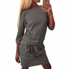 Lady Black Houndstooth Medium Pleated Dress Winter Elegant Skirt Casual Wear
