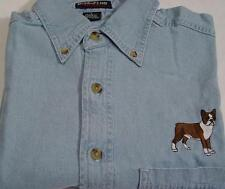 BOSTON TERRIER DOG MEN L/S DENIM SHIRT SM to 4XL - Price Embroidery Canine
