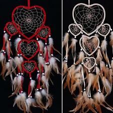 Handmade Love Heart Dream Catcher With Feathers Wall Hanging Decoration Ornament