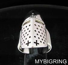 STERLING SILVER MEDIEVAL MENS RING CRUSADER KNIGHT ARMOR CROSS ANTIQUED ANY SIZE