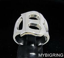 STERLING SILVER MEN'S INITIAL RING ONE 1 BOLD CAPITAL BLOCK LETTER B ANY SIZE