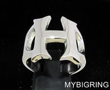 STERLING SILVER MEN'S INITIAL RING ONE 1 BOLD CAPITAL BLOCK LETTER H ANY SIZE