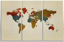 Multi color paint World Map - 3 Panel Split Canvas Print-Triptych.