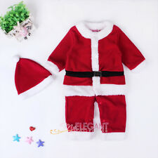 Christmas Santa Claus Toddler Kids Boys Children Costume Dress Outfit Hat Set