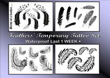 FEATHERS TEMPORARY TATTOOS  hand arm back WATERPROOF LAST 1WEEK + birds of