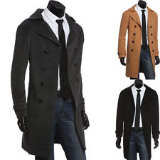 Fashion Mens Slim Fit Double Breasted Long Jacket Outwear Overcoat Trench Coat