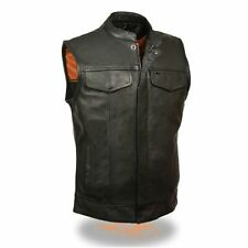 MENS MOTORCYCLE SOA OPEN COLLAR COWHIDE LEATHER VEST w/ TWO GUN POCKETS - SA90