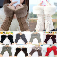 Knitted Fingerless Wrist Hand Warmer Faux Rabbit Women Fur Warm Gloves Mittens