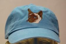 SIAMESE CAT SOLID COLOR HAT LADIES MEN BASEBALL CAP - Price Embroidery
