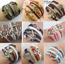 Hot Infinity Love Anchor Leather Cute Charm Bracelet plated Silver DIY NEW