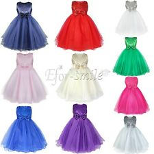 Flower Girl Dress Princess Communion Pageant Party Dance Wedding Gown Age 2-12 Y