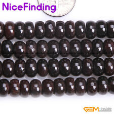 Natural Smooth Faceted Red Garnet Rondelle Gemstone Beads For Jewelry Making 15""