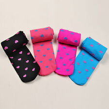 Candy Color Kids Girl Love Heart Print Warm Pantyhose Velvet Tights Stockings