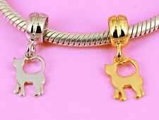 SOLID 925 Sterling Silver w Rhodium or Vermeil Gold CAT Charm Bead Fit Bracelet
