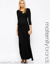 Isabella Oliver Black Maternity Bodycon Long Maxi Evening Cocktail Dress 2 8 36