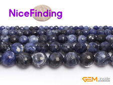"Natural Faceted Sodalite Stone Round Beads For Jewelry Making Gemstone 15"" DIY"