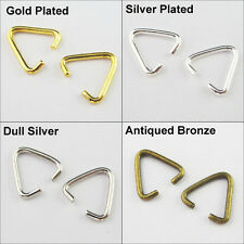 70 Connectors Triangle Jump Rings Bails Gold Dull Silver Bronze Plated 10.5x11mm