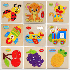 1PC Wooden Blocks Animals Kid Children Baby Educational Toy Puzzle Cartoon Lot