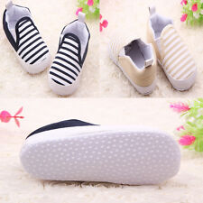 Toddler Baby Boy Shoes Crib Shoes Soft Sole kids Striped Shoes Size 0-18 Month