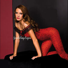 BLACK & RED LEOPARD PRINT Body Stocking OPAQUE Off-the-Shoulder CROTCHLESS OS